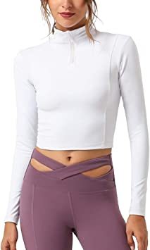 Shengwan Camiseta Deportiva Mujer Fitness Mangas Larga Media Cremallera Tops de Yoga Correr Gimnasi: Amazon.es: Deportes y aire libre