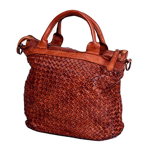 MICHELANGELO Genuine Leather Calf-Skin Italy - Bag Jessica Soft Leather 28x15 H28 cm (COGNAC)