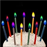 dolly2u 6pcs Colored Candles safe Flames Party Birthday Cake Decorations