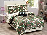 full size camo bed set - Mk Collection 8 PC Kids/Teens Full Size Tank Army Camouflage Military Green Brown Beige Light Brown Comforter And Sheet Set With Furry Buddy Included New