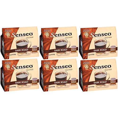 SENSEO Coffee Pods, Dark Roast, Ground Coffee Pods for Coffee Makers, Espresso Machines, Cold Brew Coffee, 18 Count (Pack of 6) by Senseo