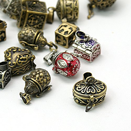 arricraft 10pcs Brass Prayer Box Pendants for Jewelry