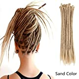 AOSOME 20 Inch Sand Color Dreadlock Extensions Crochet Locs Braids 20pcs All Handmade Synthetic Hair Extension