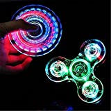 DSSY Transparent Crystal LED Fidget Hand Triangle Spinner Colorful Lighting Effects EDC Focus Desk Gyro Toy