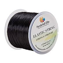 PandaHall Elite 0.8mm Elastic Stretch Polyester Threads Jewelry Bracelet Beading String Cords 60m 1 Roll Black by Pandahall