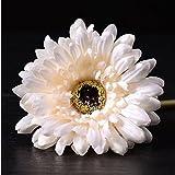 SUIE 10Pcs Artificial Silk Fake Gerbera Daisy Flower Plant with Stem Bridal Bouquet Wedding Party Home Decoration (White)