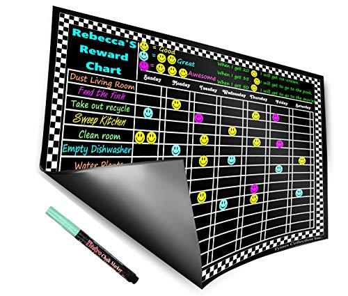 "Versatile Magnetic Refrigerator Chalkboard Dry Erase Chore/Responsibility /Activity/Reward Star/Exercise /Diet 12 X 17"" ((Solid Black (Chore/Responsibility)))"