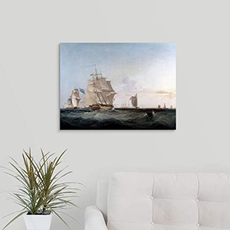 Painting of Ships by George Chambers Canvas Wall Art Print, 24 x18 x1.25