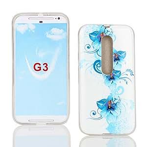 Kit Me Out ES ® Funda de gel TPU + Cargador para el coche + Protector de pantalla con gamuza de microfibra para Motorola Moto G3 (3ª generación) - Blanco / Azul Floral