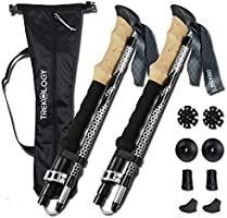 TREKOLOGY TREK-Z Collapsible Tri-fold Trekking Pole/Hiking Poles - Adjustable Lightweight Aluminum Walking Sticks,...