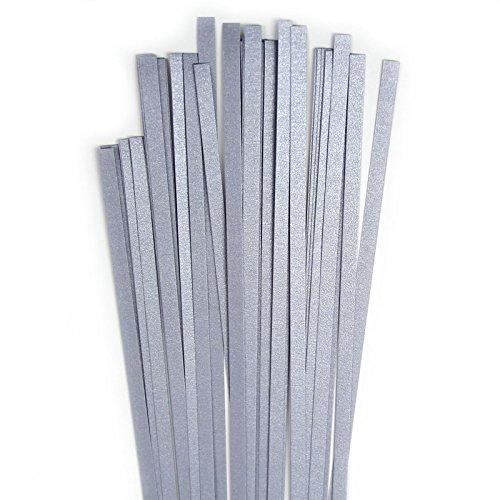 Karen Marie Klip: Quilling Papierstreifen Luxus Silber Platinum, 5x450mm, 120 g/m2, 40 Streifen