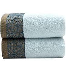 1 Pack Pure Color Towels,Satin Jacquard With Bamboo Fiber Towels, Absorbent Smooth Hand Towel ,Gym Towel ,Bath Towel (blue)