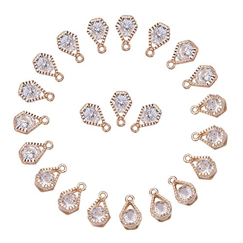 PandaHall 1Bag About 100 Pcs Cubic Zirconia Alloy Charms Sets for Jewelry Making Size 13x8x5mm KC Gold - Cubic Zirconia Beads Wholesale