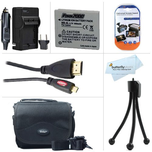 Must Have Accessory Kit For Canon VIXIA Mini Compact Personal Camcorder Includes Extended Replacement (900 maH) NB-4L Battery + Ac/Dc Travel Charger + Mini HDMI Cable + Deluxe Case + Mini Tabletop Tripod + Screen Protectors + More