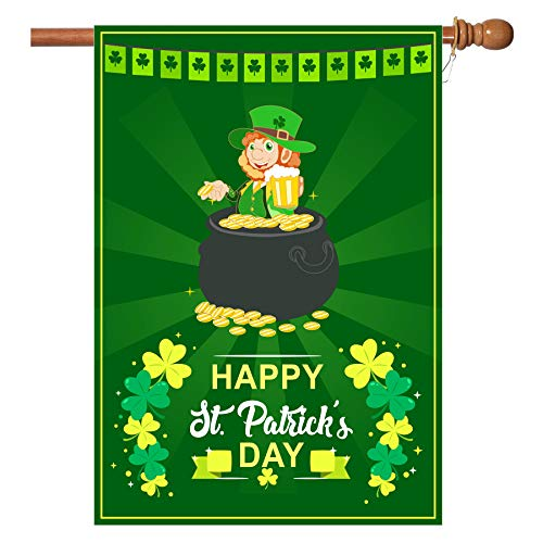 - W&X St Patrick's Day Flag,Shamrock/Elf St Patricks Flag 28 x 40 Inch Double-Sided Display with 2 Grommets Double Thickness House Flag for Garden and Home Decorations