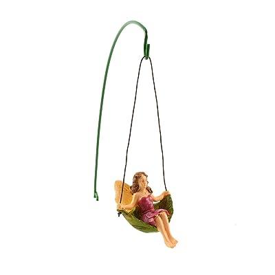 TG,LLC Treasure Gurus Miniature Leaf Tree Swing Fairy Girl Figurine Garden Accessory Dollhouse Decor: Home & Kitchen