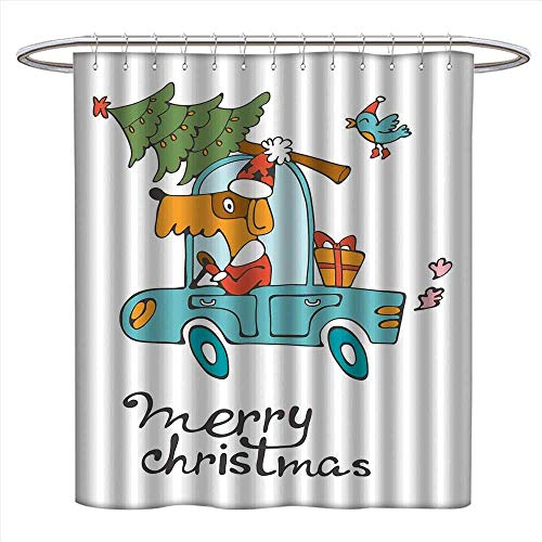 homehot Christmas Shower Curtains Digital Printing Blue Vintage Car Dog Driving with Santa Costume Cute Bird Tree and Gift Present Satin Fabric Bathroom Washable W72 x L72 White Multi