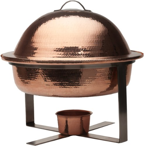 Round Copper Chafing Dish - Sertodo Copper Round Byzantium Chafer, Hand Hammered 100% Pure Copper, 6 Quart