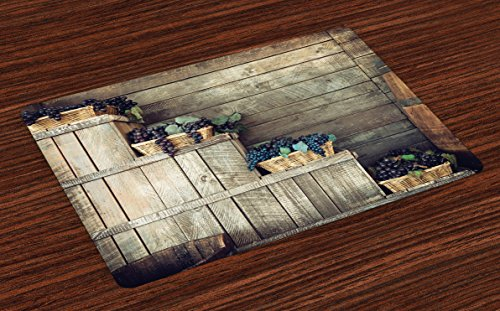 Vineyard Place Mats Set of 4 by Ambesonne, Various Grapes in Wooden Wicker Basket Ivy Viniculture Gourmet Organic Photo, Washable Placemats for Dining Room Kitchen Table Decoration, Brown (Wicker Basket Duck)