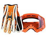 Typhoon Adult Glove & Goggle Combo Motocross Offroad ATV MX Dirt Bike - Orange - XL