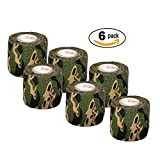 """Vet Wrap Tape Camo 2"""" inch x 15' Feet Vet Rap Self Adhesive Adherent Tape First Aid Supplies Camouflage Colors (2, 4, 6, 12, or 24 Pack Rolls)"""