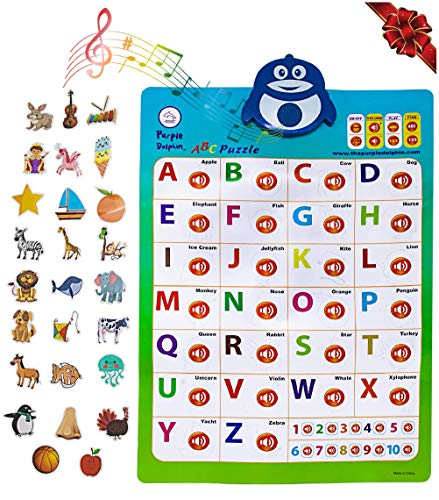 2-in-1 Interactive Alphabet Poster for Kids | Classroom ABC Posters | Wall Chart Decal | Educational Toddler Toys | Children Learning Puzzle | Preschool Electronic Games (Renewed)