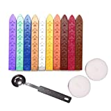 Aokbean 10pcs Colors Flower Antique Carved Wax Sealing Sticks for Retro Vintage Wax Seal Stamp without Wick (Multi-Color)