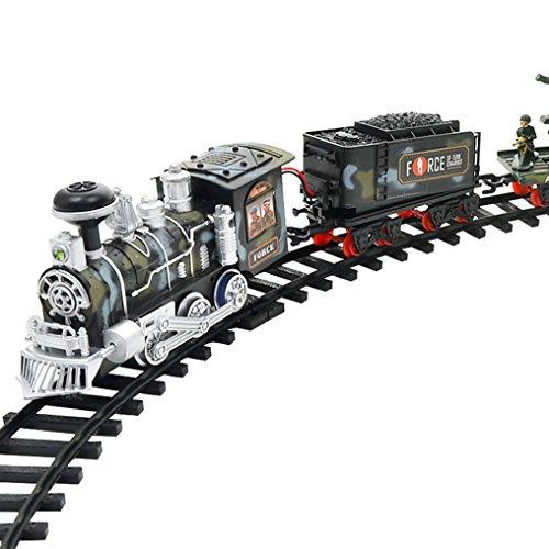 Binmer(TM) Remote Control Conveyance Car Electric Steam Smoke RC Train Set Model Toy Gift (C)