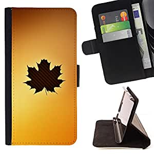 DEVIL CASE - FOR Samsung Galaxy S5 V SM-G900 - Leaf Tree Autumn Brown Yellow Maple Art - Style PU Leather Case Wallet Flip Stand Flap Closure Cover