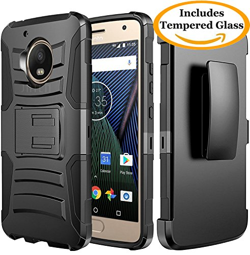 Price comparison product image Moto G5 Plus Case, Moto G Plus 5th Generation Case, JATEM [Belt Clip] Rugged Hybrid Dual Layer Kickstand Holster Combo + Tempered Glass Screen Protector and Stylus Pen (Black/Black)