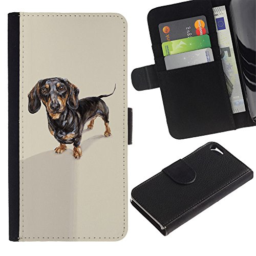 LASTONE PHONE CASE / Luxe Cuir Portefeuille Housse Fente pour Carte Coque Flip Étui de Protection pour Apple Iphone 5 / 5S / Dachshund Badger Dog Black Brown