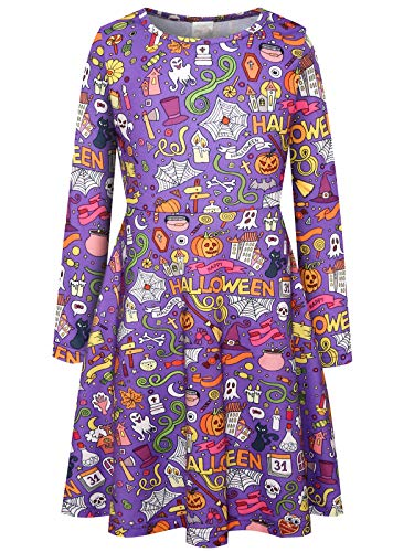 Bonny Billy Girls Cosplay Halloween Pumpkin Print Dresses for Kids 8-12 -
