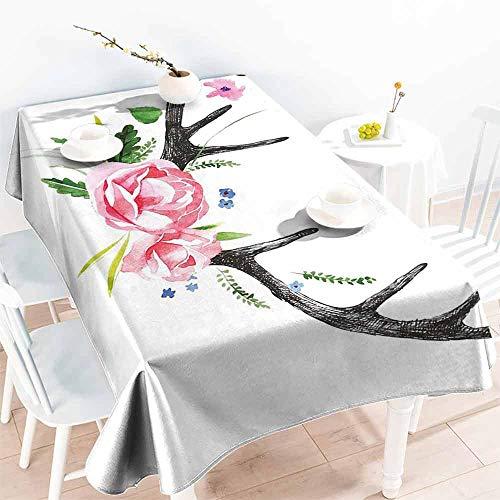 HCCJLCKS Washable Table Cloth Antler Decor Black Deer