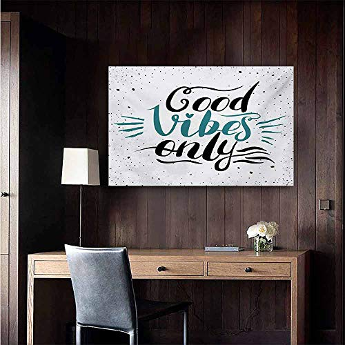 - duommhome Good Vibes Simulation Oil Painting Stylized Hand Letters Calligraphy Dots Wavy Lines and Little Heart Modern Decorative Painted Sofa Background Wall 24