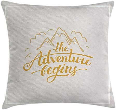 SPXUBZ Vibrant Mountain View And The Adventure Begins Quote Travel Hand Drawn Earth Yellow Apricot Pillow Cover Decorative Home Decor Nice Gift Square Indoor Pillowcase Size: 22x22 Inch(Two Sides)