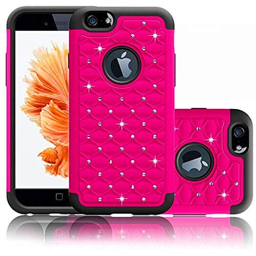 Hot Pink Bling - Coolzu(TM) iPhone 6 6S Case Heavy Duty Shock Absorbing Hybrid Stud Rhinestone Bling Dual Layer Protection Cover for Apple iPhone6 iphon6s Cases 4.7 Inch (Hot Pink)
