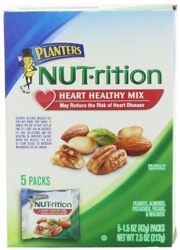 Planters Mixed Nuts, Heart Healthy Mix, 7.5 Ounce (Pack of 1)