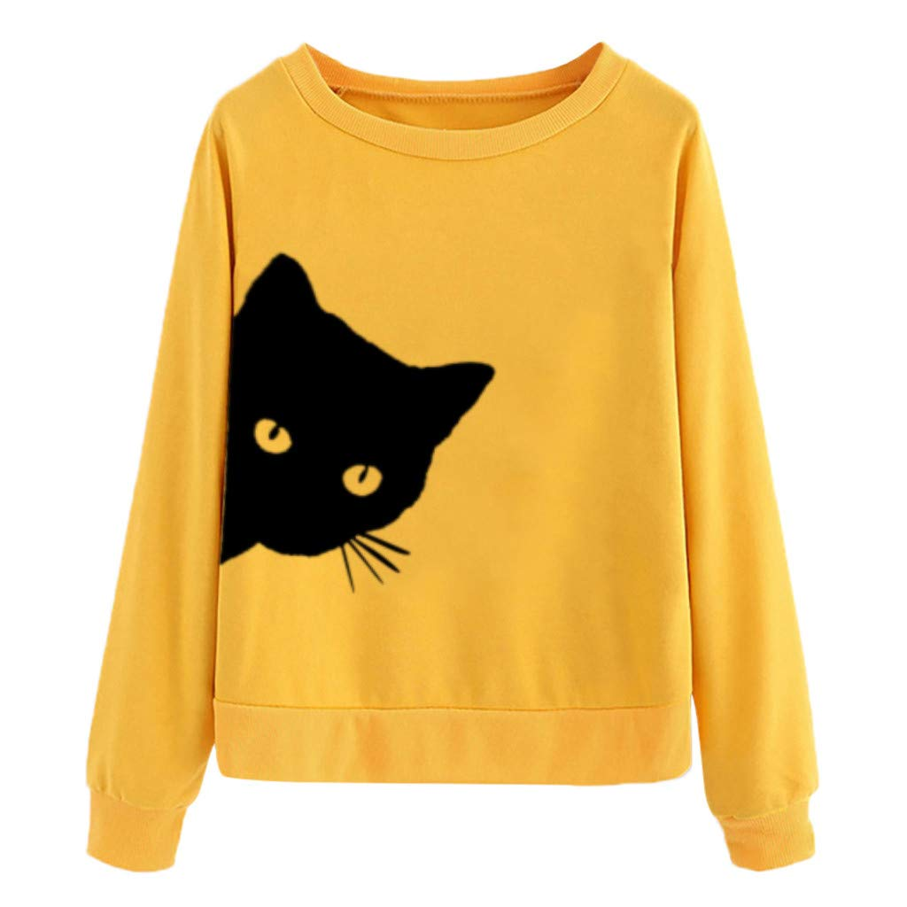 Redacel Women Teen Girl Sport Cat Printing Round Neck Long Sleeve Casual Blouse Sweatshirt(S,Yellow) by Redacel