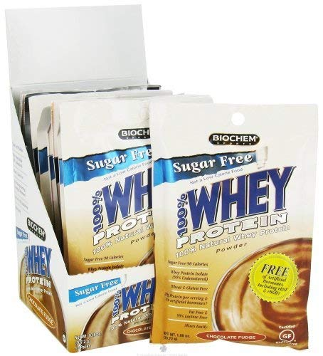 Biochem Whey Protein Powder Mix, Chocolate Fudge Supports Healthy Metabolism High Protein Supplement Drink Mix, 10-Count, 1.1-Ounce Single Serving Packs