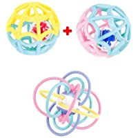 Baby Play Ball and Sensory Teether. Two Outer Plus 2 Inner Balls. Rattles and Rolls for Double The Fun. Ages 0 Month to…