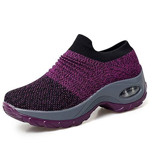 - HKR Womens Platform Loafers Slip On Comfortable Work Shoes Mesh Walking Sneakers Purple 6.5(ZJW1839zise37)