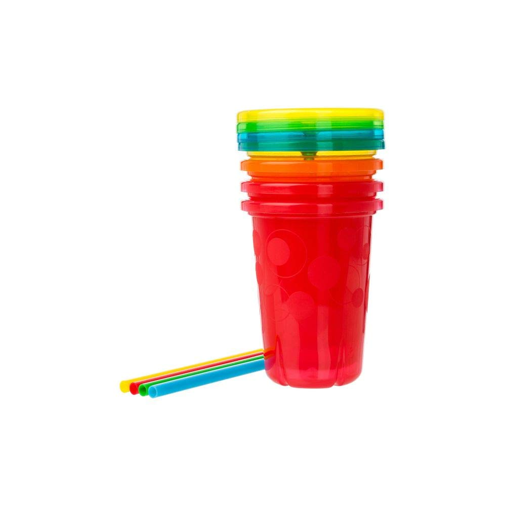 The First Years Take & Toss Straw Cup, Boy, 10 oz, Multicolor, 4 Count