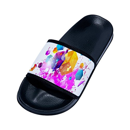 Slippers for Simple Womens Pattern Colorful Drying Slip Non Slippers Quick Black Cube w8ZqUC