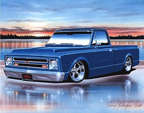 1968 Chevy C10 Fleetside Pickup Classic Truck Art Print Blue 11x14 Poster (Old Trucks Classic Chevy)