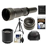 Rokinon 650-1300mm f/8-16 Telephoto Lens & 2x Teleconverter (= 650-2600mm) with Case + Tripod + Accessory Kit for Sony Alpha NEX-C3, NEX-F3, NEX-5, NEX-5N, NEX-7 Digital Cameras