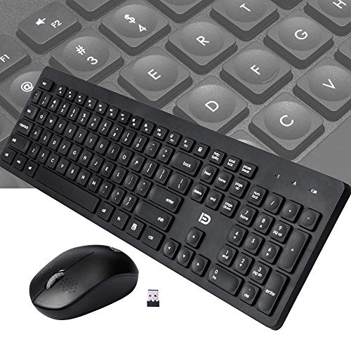 Wireless Keyboard and Mouse Combo for PC, Laptop, Computer - 65.62ft Long Range - Ultra Slim Full Size - for Windows 10, 8, 7, Xp, Vista - Cordless Mouse and Keyboard Combo, Black