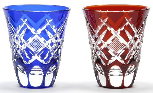 Japanese Edo-Kiriko (Cut Glass) Sake Cups A Pair of Hishi-nanako Pattern by KIMOTO GLASSWARE