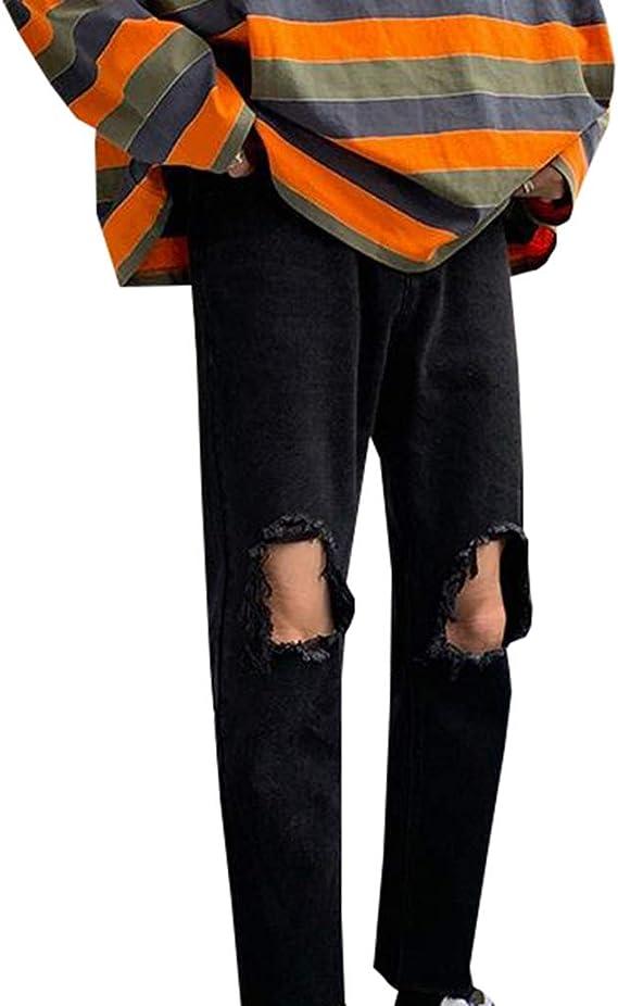 [YUNHEN]メンズ デニムパンツ ダメージ加工 ジーンズ 黒 ロングパンツ 原宿系 ファッション ボトムス ジーンズ ストリート系 通学