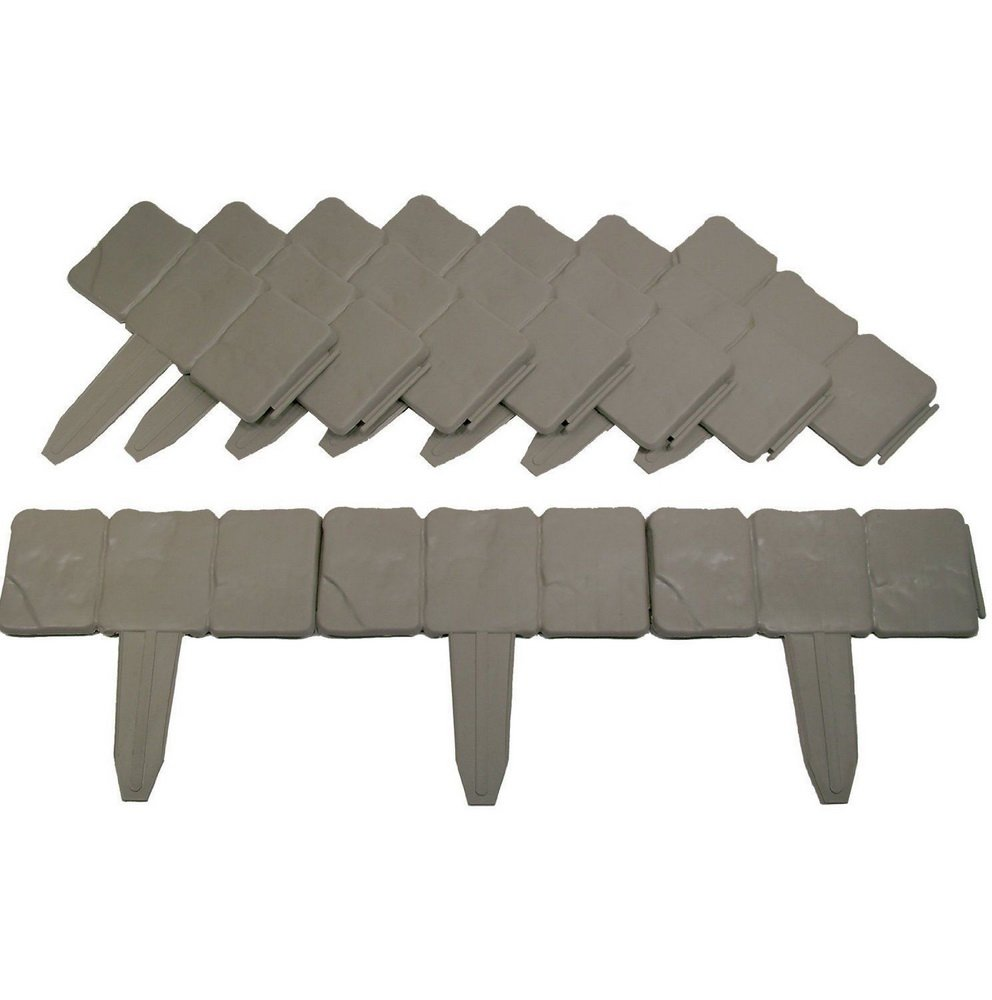 20/40X Lakeland Cobbled Stone Effect Garden Edging Plastic Hammer-In Lawn Palisade (20PCS) Good shop us