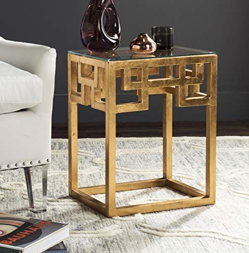Greek Glass - Safavieh Home Collection Byram Greek Key Gold Glass Top End Table